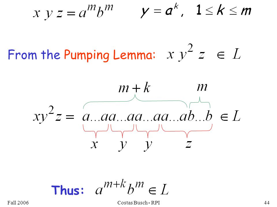 Fall 2006Costas Busch - RPI44 From the Pumping Lemma: Thus: