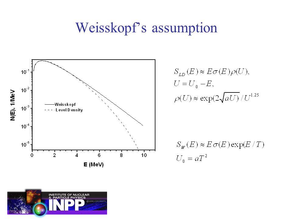 Weisskopf's assumption