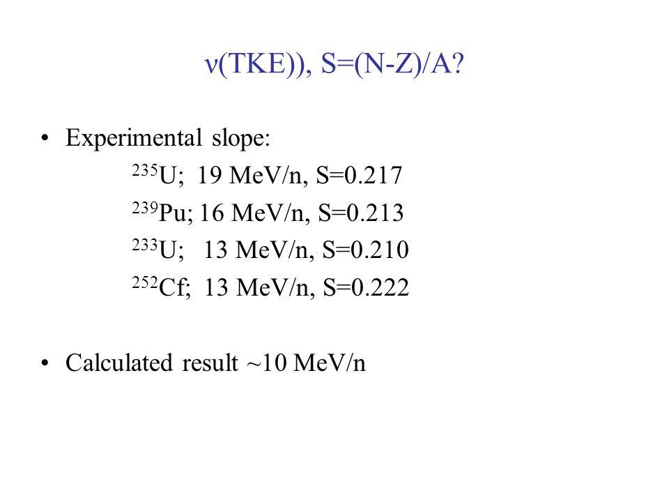 ν(TKE)), S=(N-Z)/A? Experimental slope: 235 U; 19 MeV/n, S=0.217 239 Pu; 16 MeV/n, S=0.213 233 U; 13 MeV/n, S=0.210 252 Cf; 13 MeV/n, S=0.222 Calculat