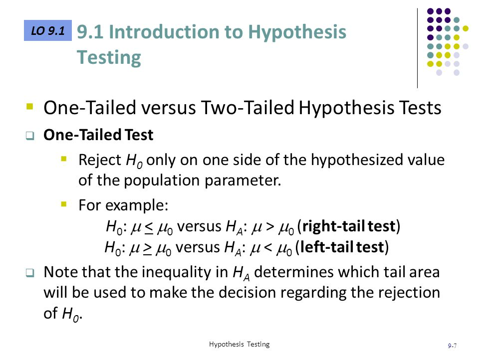 9-8 Hypothesis Testing LO 9.1  Three Steps to Formulate Hypotheses 1.Identify the relevant population parameter of interest (e.g.,  or p).