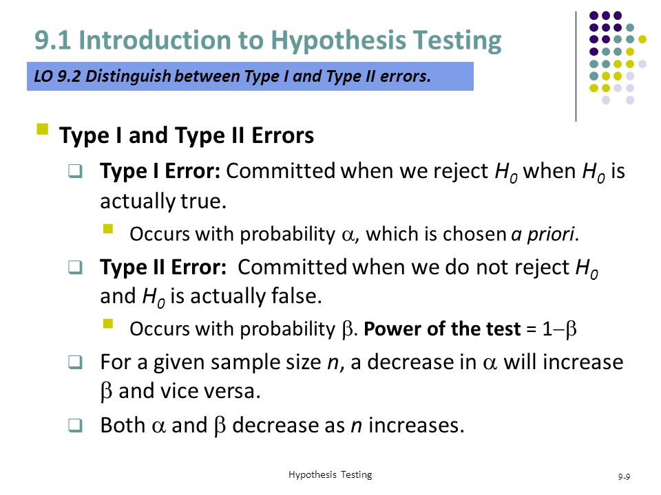 9-20 Hypothesis Testing 9.3 Hypothesis Test of the Population Mean When  Is Unknown LO 9.5 Differentiate between the test statistics for the population mean.