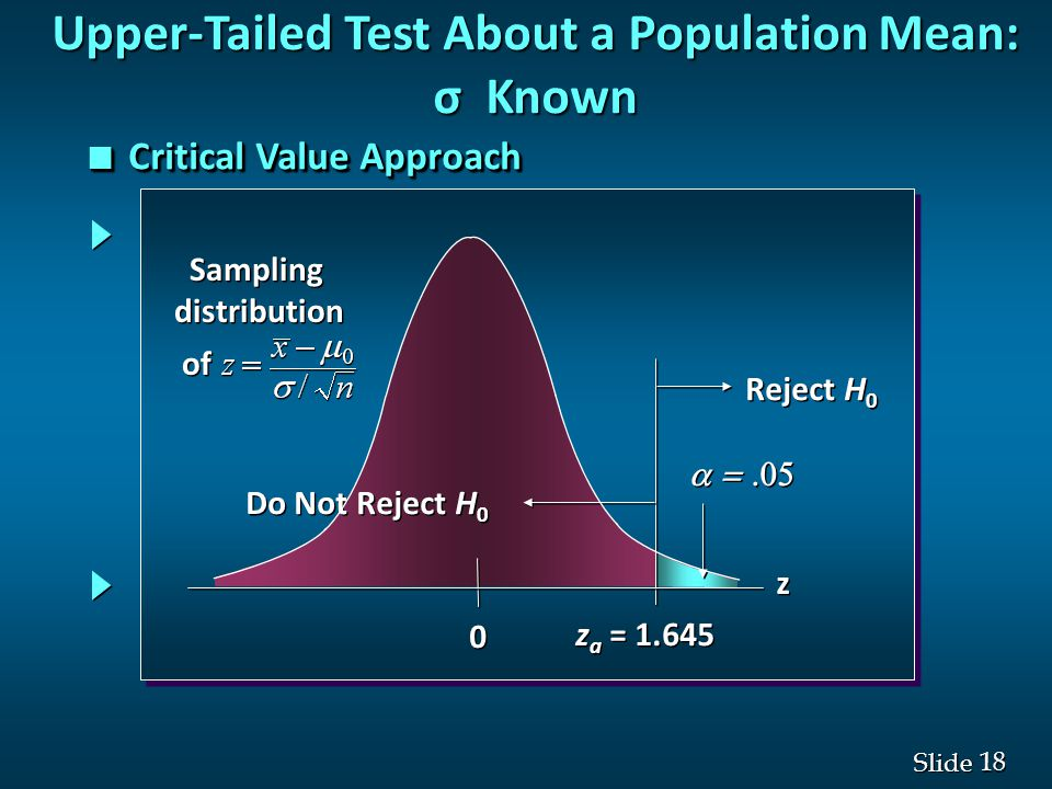 18 Slide  0 0 z a = 1.645 Reject H 0 Do Not Reject H 0 z z Sampling distribution of Sampling distribution of Upper-Tailed Test About a Population Mean: σ Known n Critical Value Approach