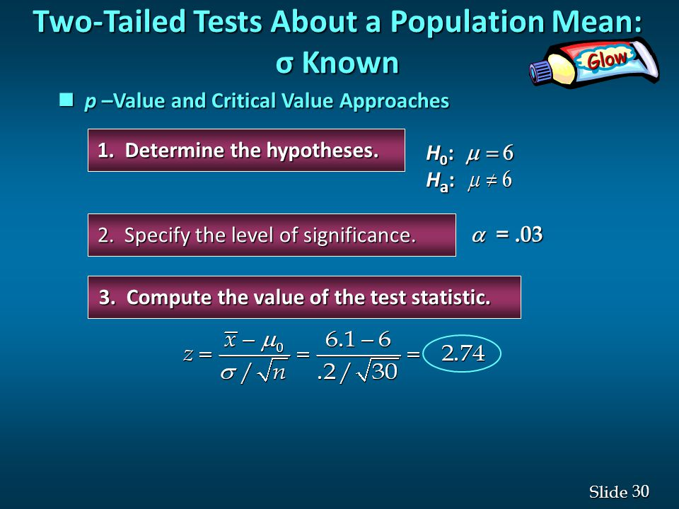 30 Slide 1. Determine the hypotheses. 2. Specify the level of significance.