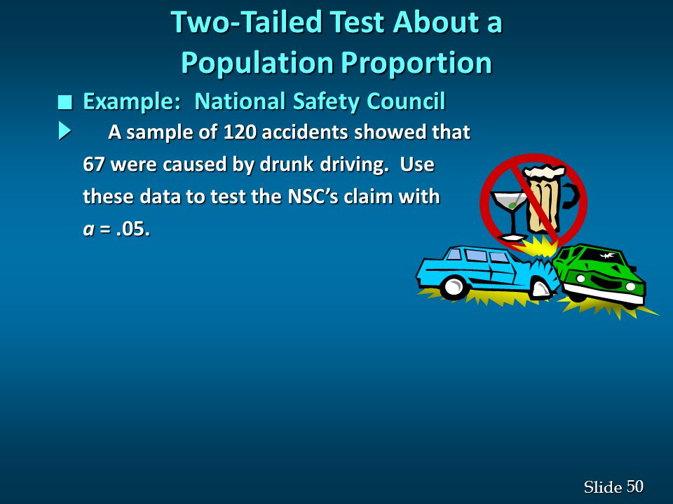 50 Slide A sample of 120 accidents showed that A sample of 120 accidents showed that 67 were caused by drunk driving.