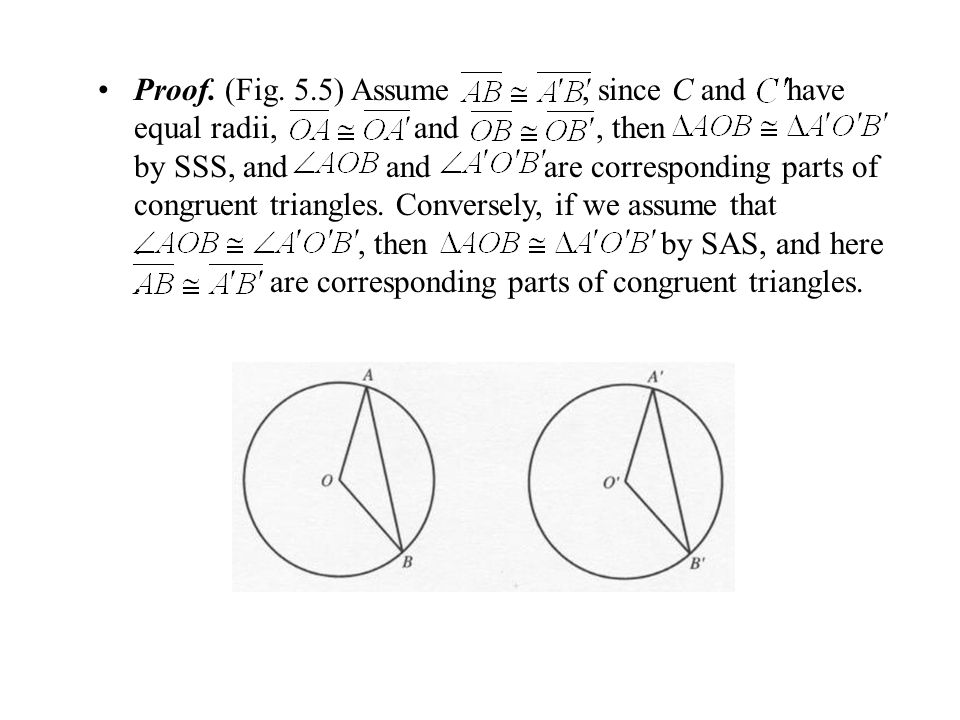 Proof. (Fig. 5.5) Assume, since C and have equal radii, and, then by SSS, and and are corresponding parts of congruent triangles. Conversely, if we as
