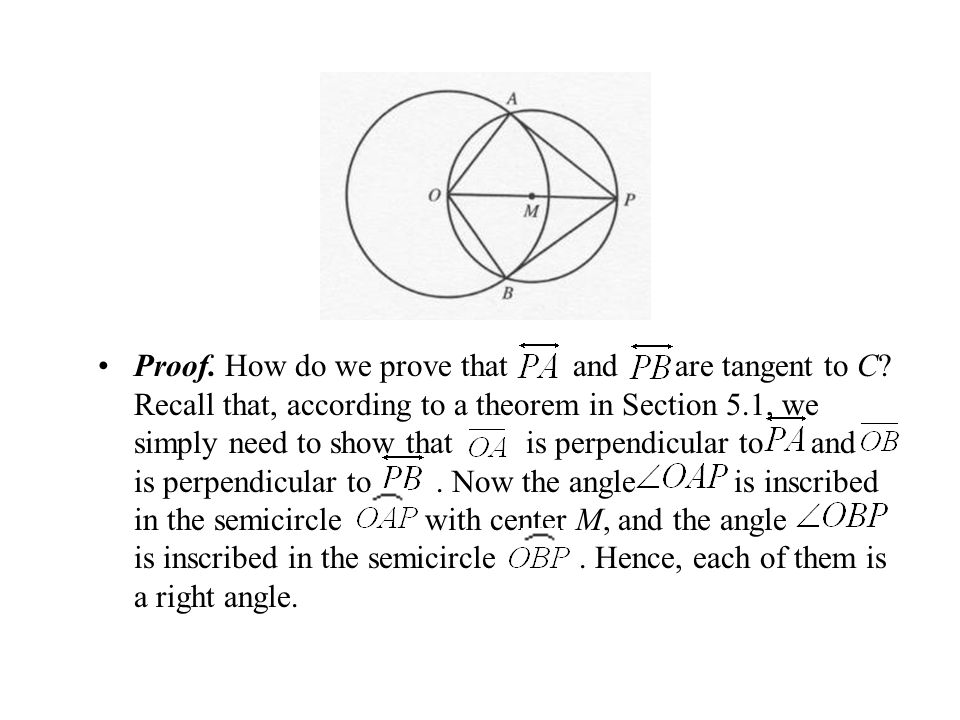 Proof. How do we prove that and are tangent to C? Recall that, according to a theorem in Section 5.1, we simply need to show that is perpendicular to