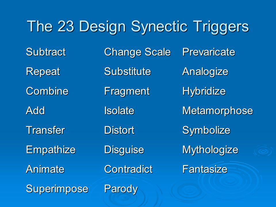 The 23 Design Synectic Triggers Subtract Change Scale Prevaricate RepeatSubstituteAnalogize CombineFragmentHybridize AddIsolateMetamorphose TransferDi
