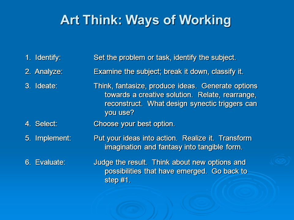 Art Think: Ways of Working 1. Identify: Set the problem or task, identify the subject. 2. Analyze: Examine the subject; break it down, classify it. 3.