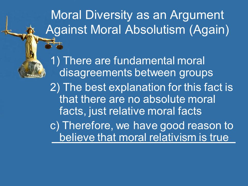 Moral Diversity as an Argument Against Moral Absolutism (Again) 1) There are fundamental moral disagreements between groups 2) The best explanation fo