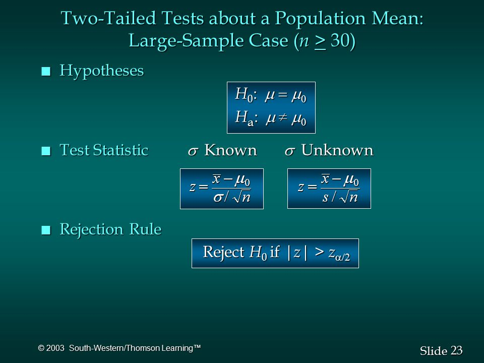 23 Slide © 2003 South-Western/Thomson Learning™ n Hypotheses H 0 :   H a :   Test Statistic  Known  Unknown Test Statistic  Known  Unknown n Rejection Rule Reject H 0 if | z | > z  Reject H 0 if | z | > z  Two-Tailed Tests about a Population Mean: Large-Sample Case ( n > 30)