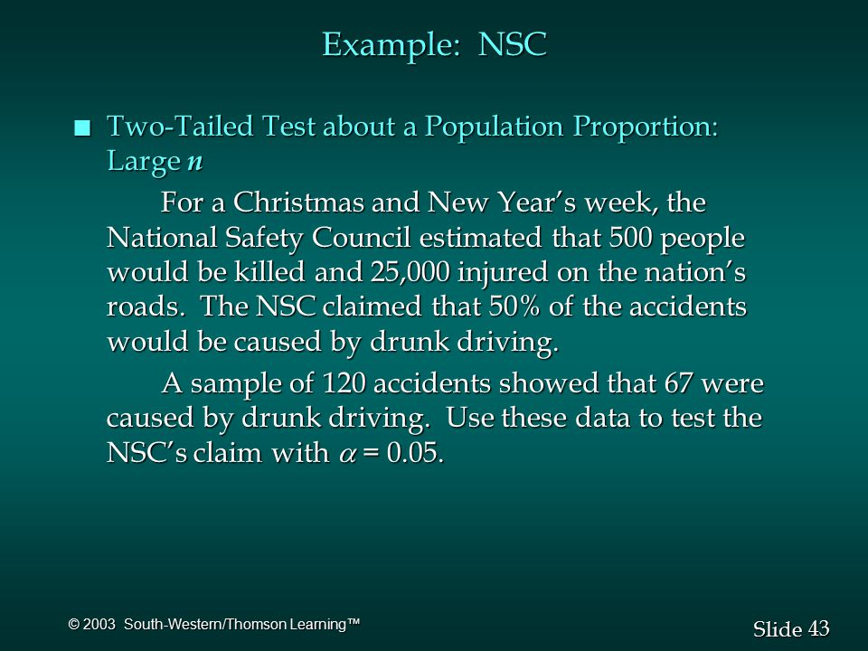 43 Slide © 2003 South-Western/Thomson Learning™ Example: NSC n Two-Tailed Test about a Population Proportion: Large n For a Christmas and New Year's week, the National Safety Council estimated that 500 people would be killed and 25,000 injured on the nation's roads.