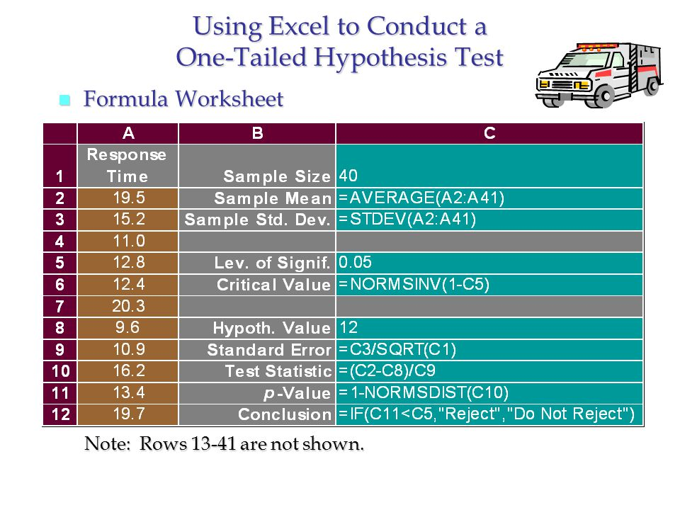 Using Excel to Conduct a One-Tailed Hypothesis Test n Formula Worksheet Note: Rows 13-41 are not shown.