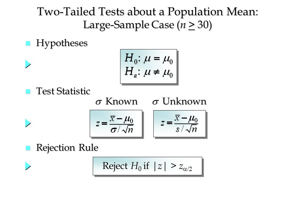 Two-Tailed Tests about a Population Mean: Large-Sample Case ( n > 30) n Hypotheses n Test Statistic n Rejection Rule  Known  Unknown Reject H 0 if | z | > z 