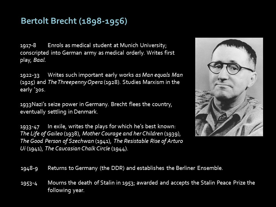 Bertolt Brecht (1898-1956) 1917-8Enrols as medical student at Munich University; conscripted into German army as medical orderly.