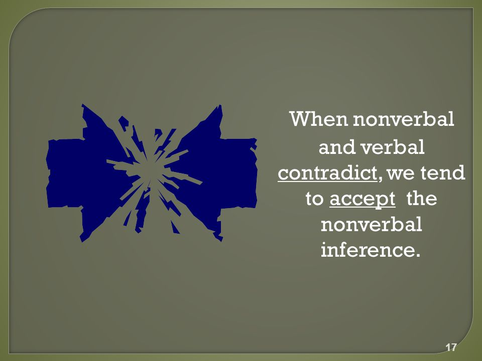 When nonverbal and verbal contradict, we tend to accept the nonverbal inference. 17