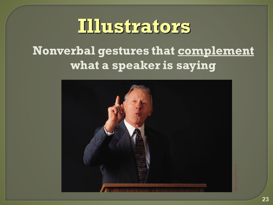 23 Illustrators Nonverbal gestures that complement what a speaker is saying Microsoft Photo