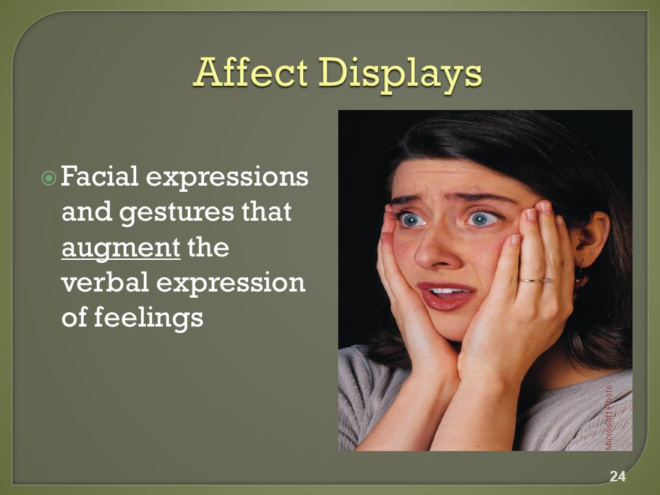  Facial expressions and gestures that augment the verbal expression of feelings 24 Microsoft Photo