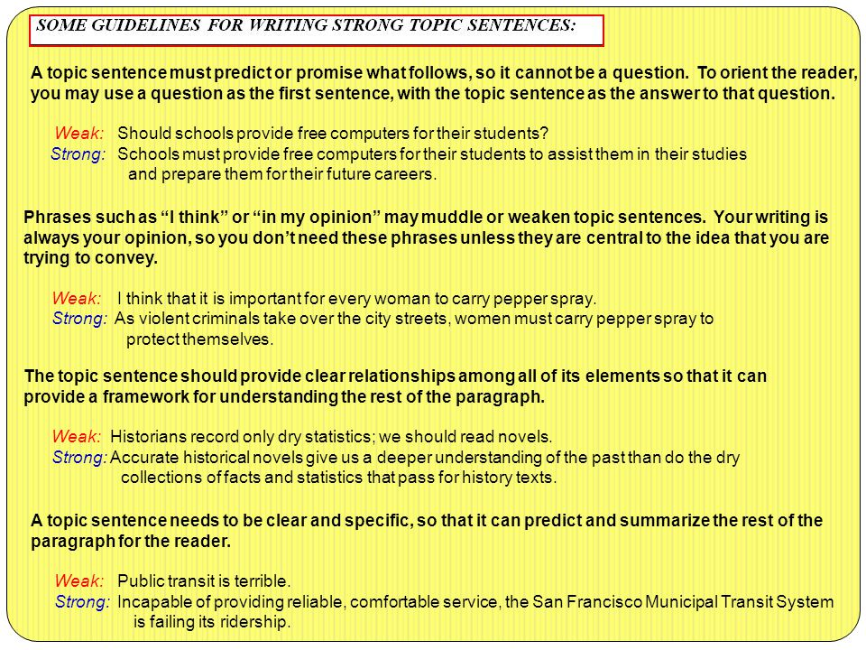 A topic sentence must predict or promise what follows, so it cannot be a question. To orient the reader, you may use a question as the first sentence,