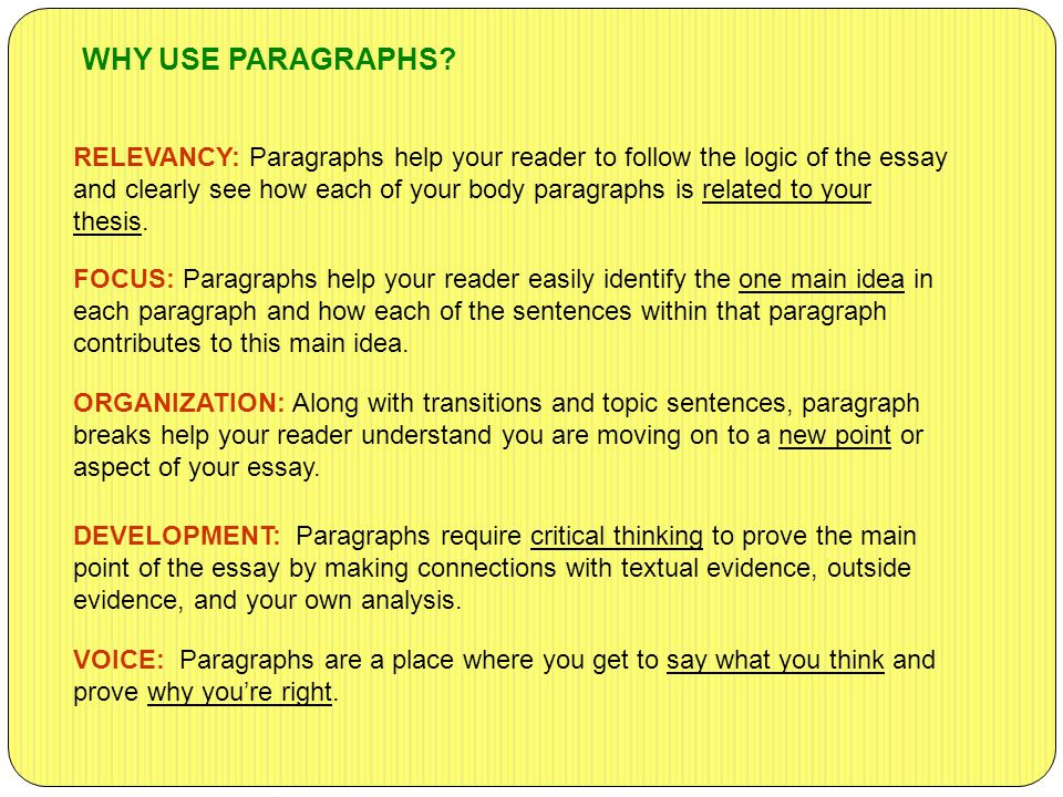 RELEVANCY: Paragraphs help your reader to follow the logic of the essay and clearly see how each of your body paragraphs is related to your thesis. WH