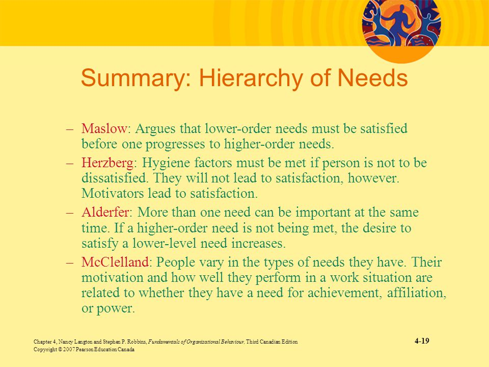 Chapter 4, Nancy Langton and Stephen P. Robbins, Fundamentals of Organizational Behaviour, Third Canadian Edition 4-19 Copyright © 2007 Pearson Educat