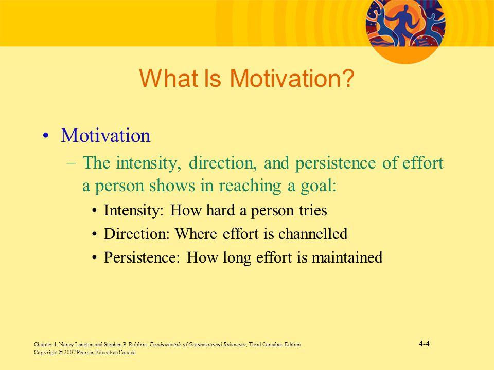 Chapter 4, Nancy Langton and Stephen P. Robbins, Fundamentals of Organizational Behaviour, Third Canadian Edition 4-4 Copyright © 2007 Pearson Educati