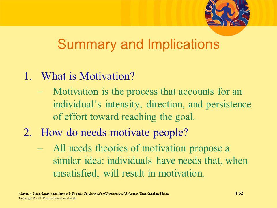 Chapter 4, Nancy Langton and Stephen P. Robbins, Fundamentals of Organizational Behaviour, Third Canadian Edition 4-62 Copyright © 2007 Pearson Educat