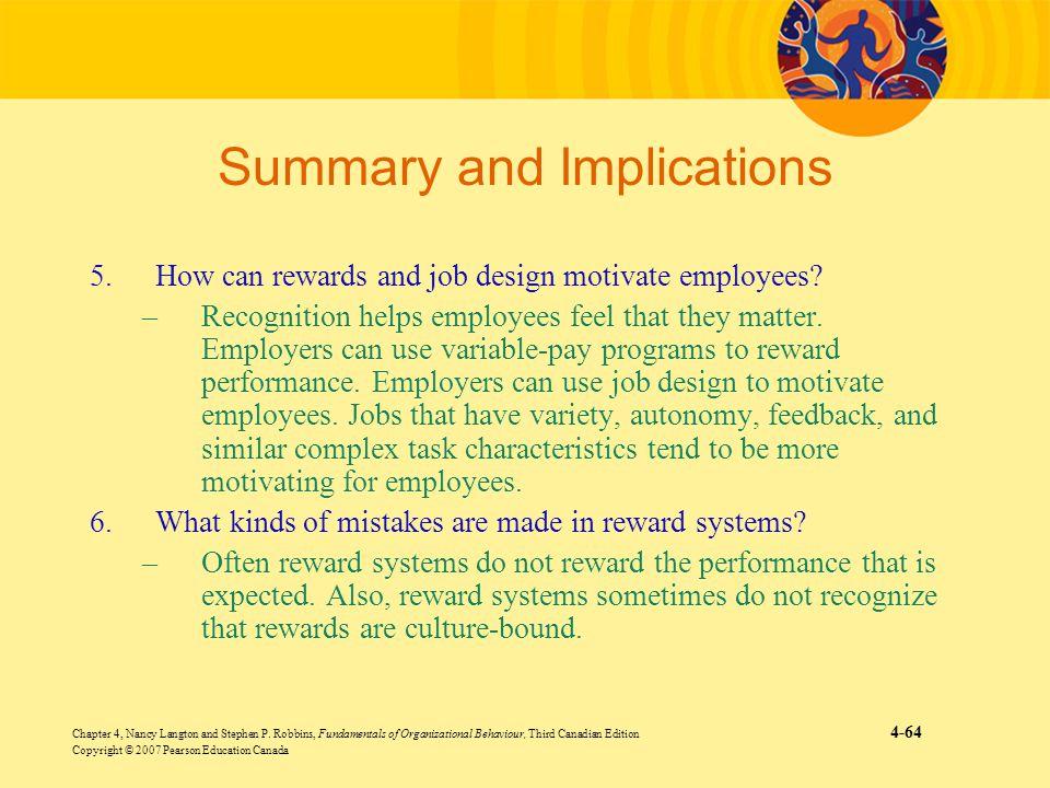 Chapter 4, Nancy Langton and Stephen P. Robbins, Fundamentals of Organizational Behaviour, Third Canadian Edition 4-64 Copyright © 2007 Pearson Educat