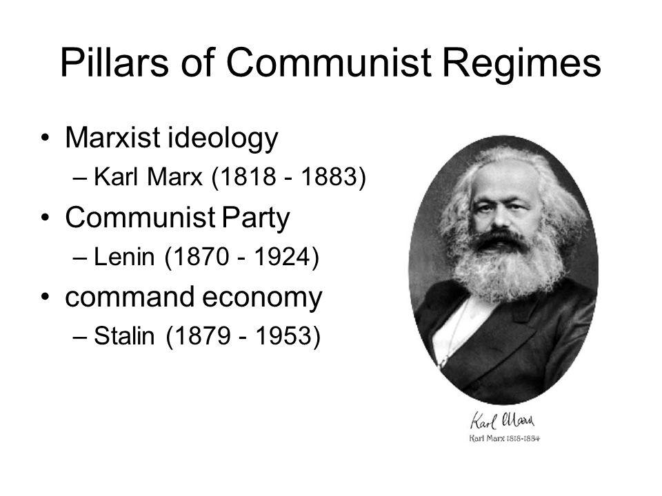 Pillars of Communist Regimes Marxist ideology –Karl Marx (1818 - 1883) Communist Party –Lenin (1870 - 1924) command economy –Stalin (1879 - 1953)