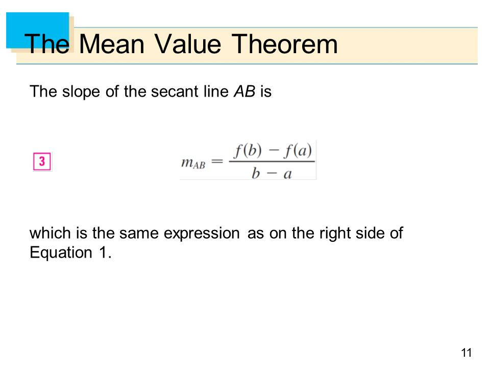 11 The Mean Value Theorem The slope of the secant line AB is which is the same expression as on the right side of Equation 1.
