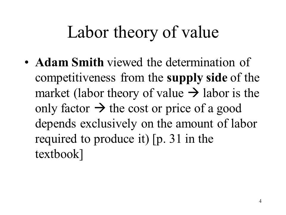 5 Labor theory of value Like Smith, David Ricardo emphasized the supply-side of the market.