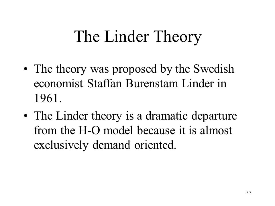 55 The Linder Theory The theory was proposed by the Swedish economist Staffan Burenstam Linder in 1961. The Linder theory is a dramatic departure from
