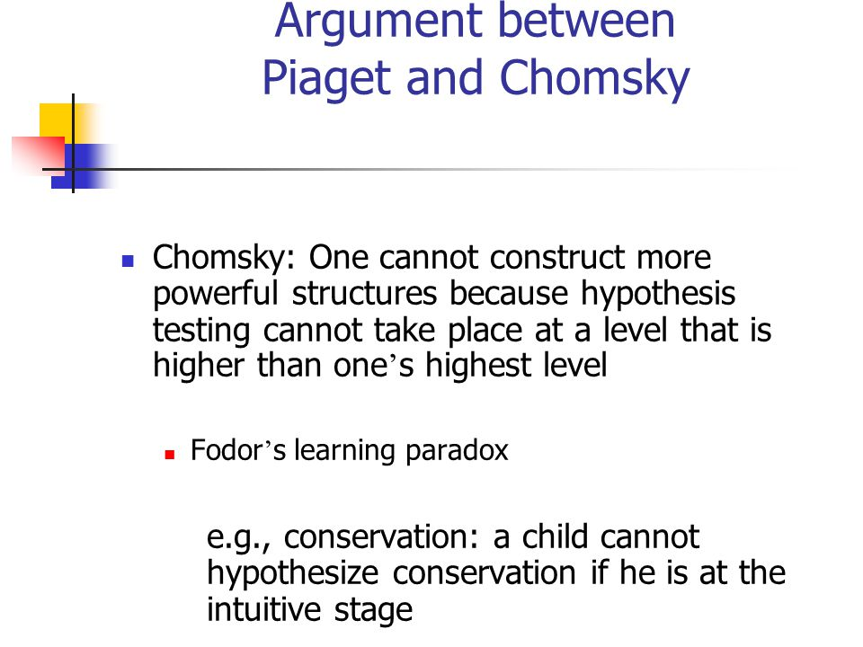 Argument between Piaget and Chomsky Chomsky: One cannot construct more powerful structures because hypothesis testing cannot take place at a level that is higher than one ' s highest level Fodor ' s learning paradox e.g., conservation: a child cannot hypothesize conservation if he is at the intuitive stage