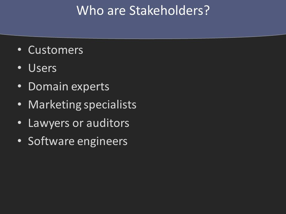 1.Sit down with stakeholders 2.Engineers present their understanding of requirements 3.Stakeholders correct this understanding 4.Everybody discusses/argues/negotiates 5.Engineers revise requirements Repeat, if necessary.