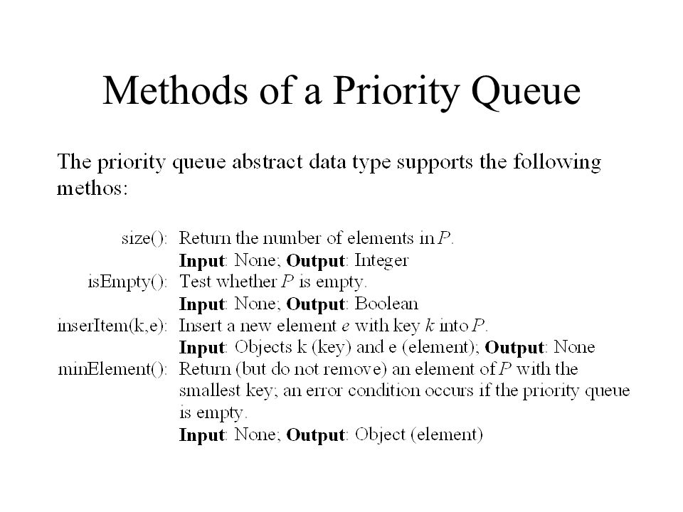 Methods of a Priority Queue