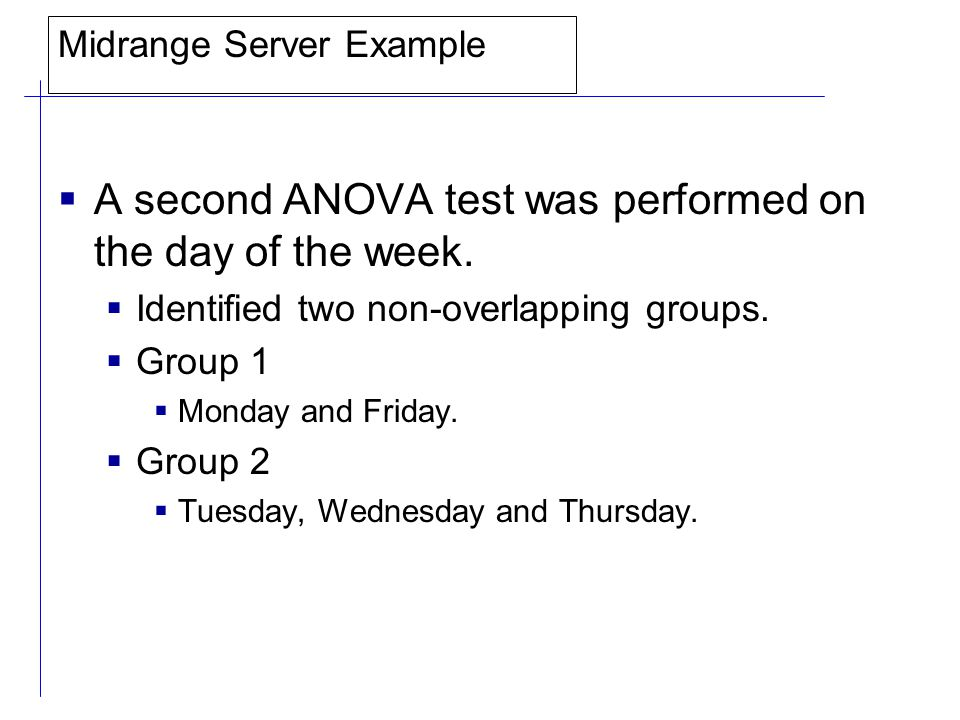 Midrange Server Example  A second ANOVA test was performed on the day of the week.