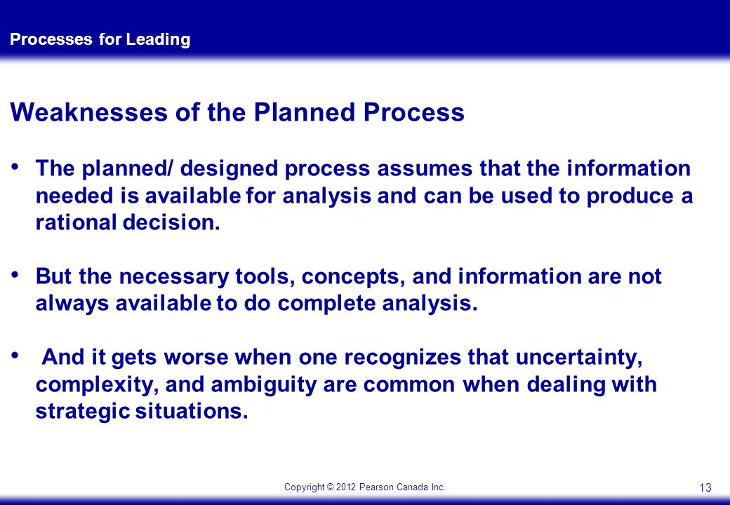 Copyright © 2012 Pearson Canada Inc. Processes for Leading Weaknesses of the Planned Process The planned/ designed process assumes that the informatio
