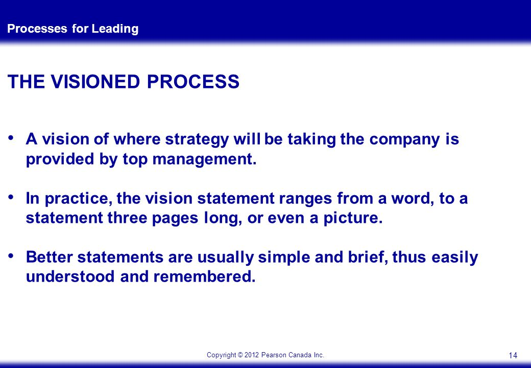 Copyright © 2012 Pearson Canada Inc. Processes for Leading THE VISIONED PROCESS A vision of where strategy will be taking the company is provided by t