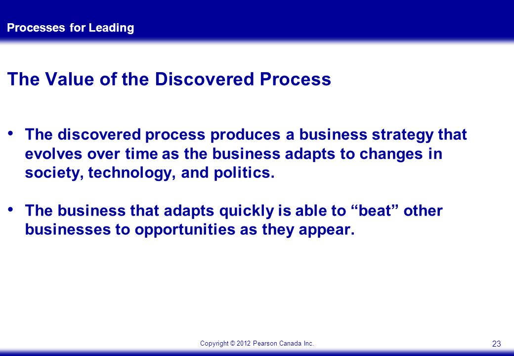 Copyright © 2012 Pearson Canada Inc. Processes for Leading The Value of the Discovered Process The discovered process produces a business strategy tha