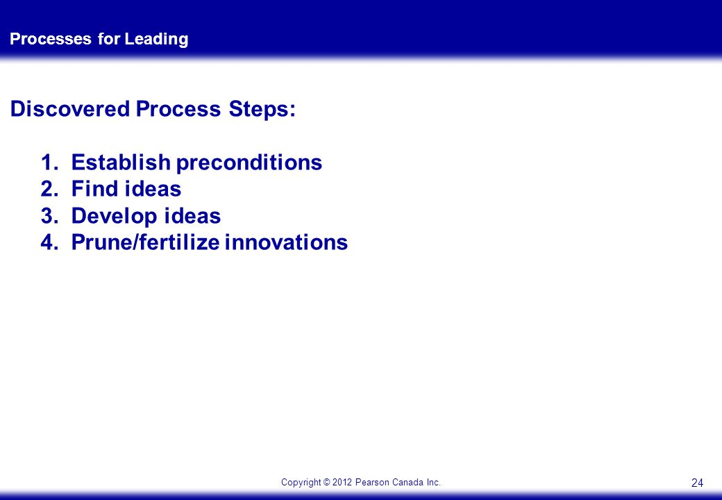 Copyright © 2012 Pearson Canada Inc.Processes for Leading Discovered Process Steps: 1.