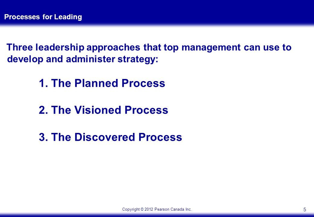 Copyright © 2012 Pearson Canada Inc. Processes for Leading Three leadership approaches that top management can use to develop and administer strategy: