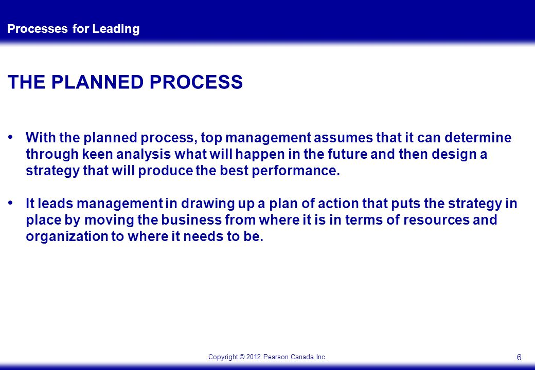 Copyright © 2012 Pearson Canada Inc. Processes for Leading THE PLANNED PROCESS With the planned process, top management assumes that it can determine