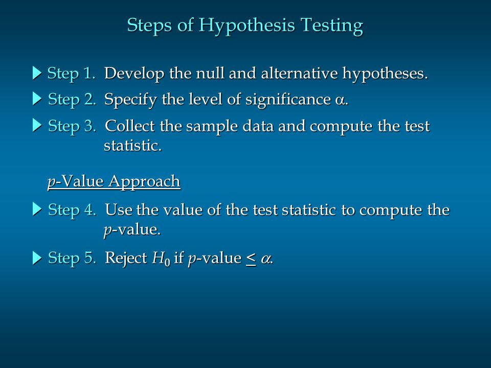 Steps of Hypothesis Testing Step 1.Develop the null and alternative hypotheses.