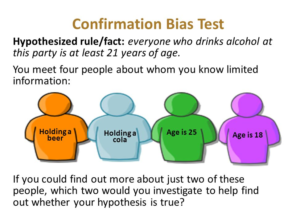 Confirmation Bias Test Hypothesized rule/fact: everyone who drinks alcohol at this party is at least 21 years of age. You meet four people about whom