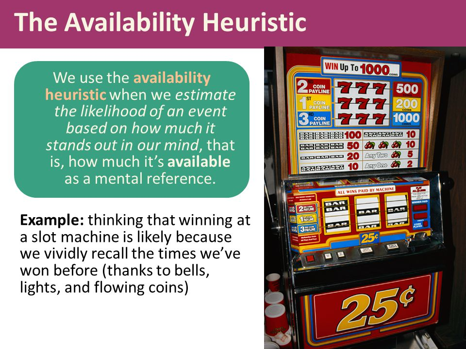 The Availability Heuristic We use the availability heuristic when we estimate the likelihood of an event based on how much it stands out in our mind,