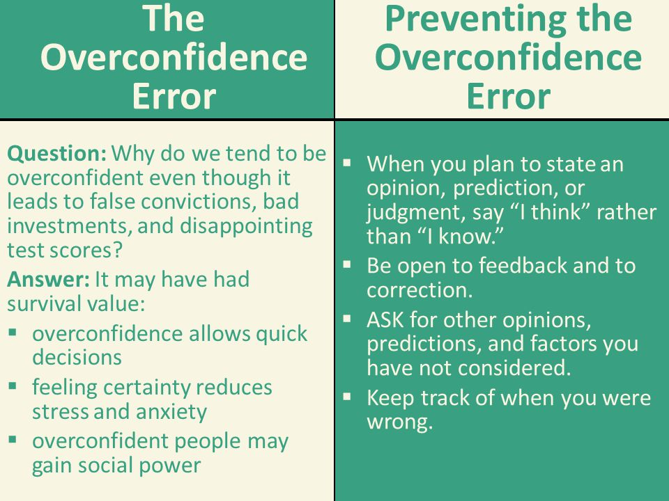 The Overconfidence Error Question: Why do we tend to be overconfident even though it leads to false convictions, bad investments, and disappointing te