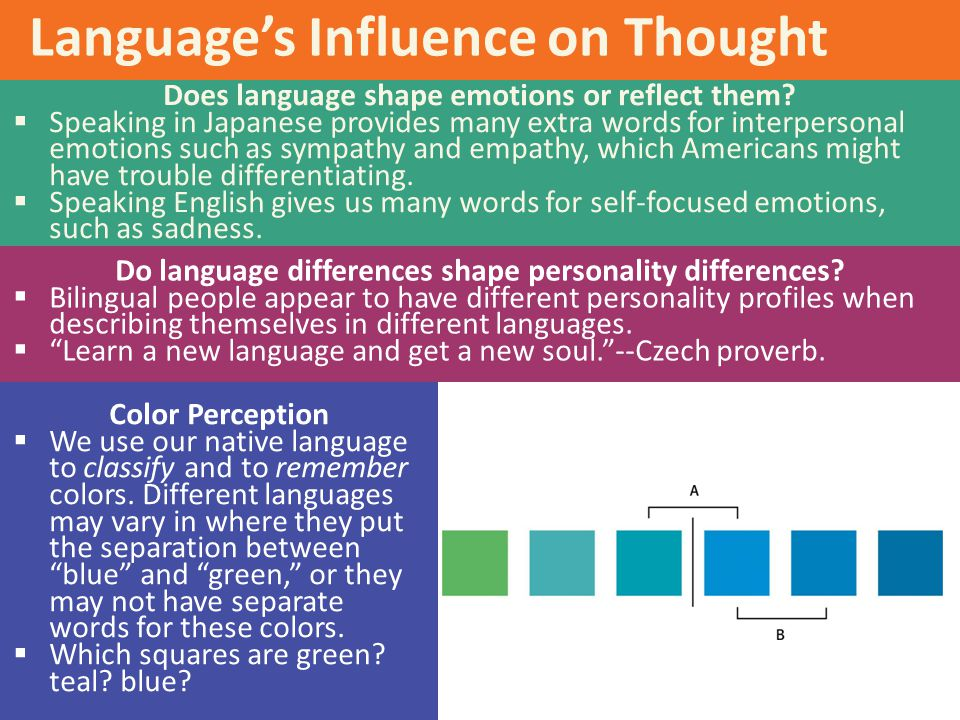 Language's Influence on Thought Does language shape emotions or reflect them?  Speaking in Japanese provides many extra words for interpersonal emoti