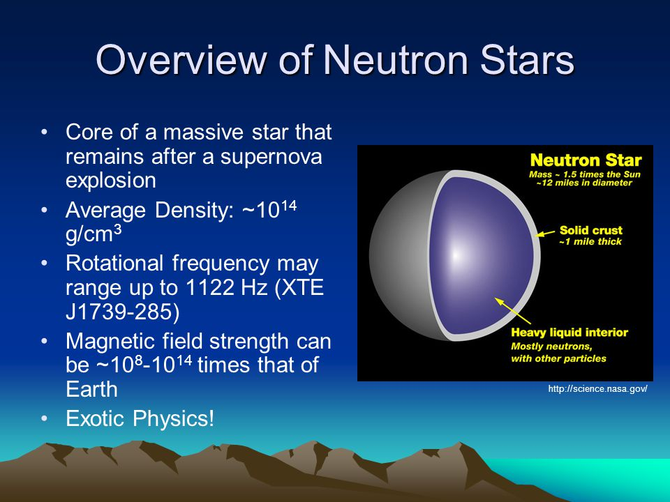 Overview of Neutron Stars Core of a massive star that remains after a supernova explosion Average Density: ~10 14 g/cm 3 Rotational frequency may range up to 1122 Hz (XTE J1739-285) Magnetic field strength can be ~10 8 -10 14 times that of Earth Exotic Physics.