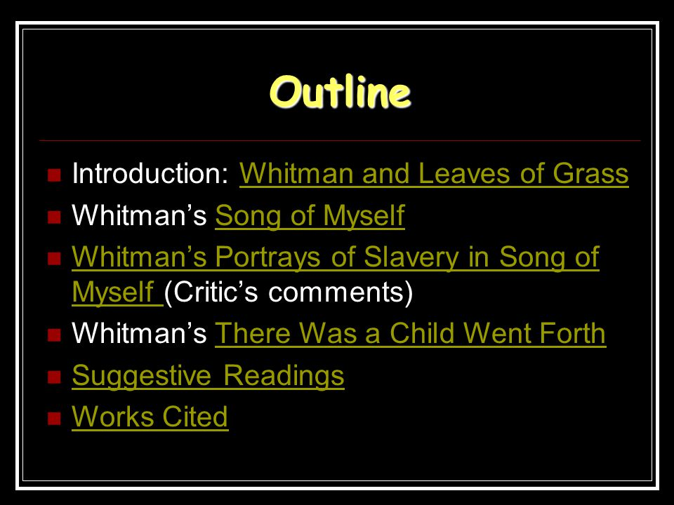 Outline Introduction: Whitman and Leaves of GrassWhitman and Leaves of Grass Whitman's Song of MyselfSong of Myself Whitman's Portrays of Slavery in S