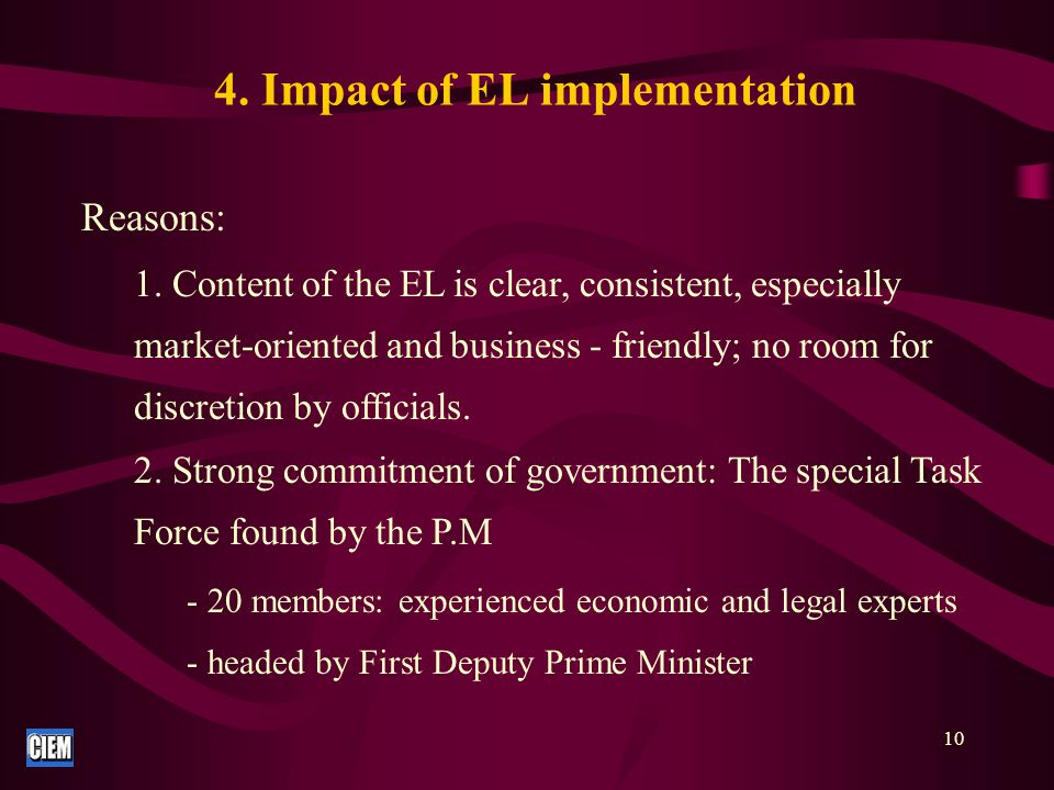 11 - Duties: + Drafting regulations + Supervising implementation of the EL + Regularly report to the PM 3.