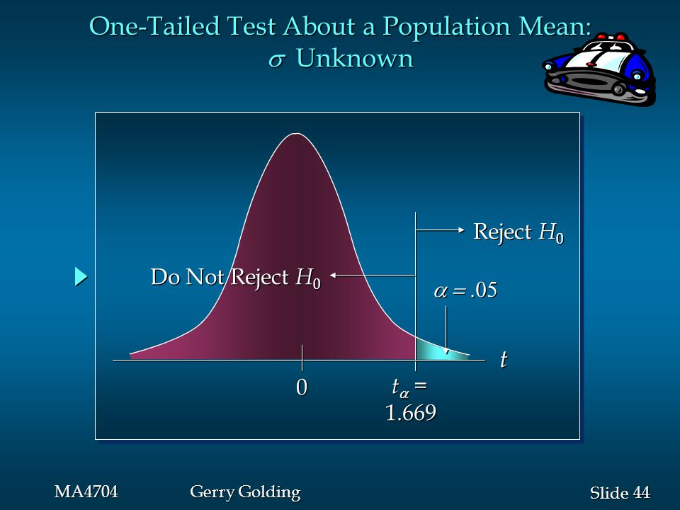 44 Slide MA4704Gerry Golding  0 0 t  = 1.669 t  = 1.669 Reject H 0 Do Not Reject H 0 t One-Tailed Test About a Population Mean:  Unknown